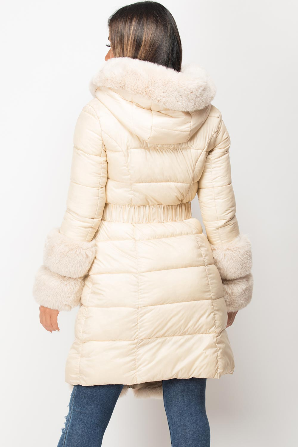womens beige faux fur belted puffer down coat