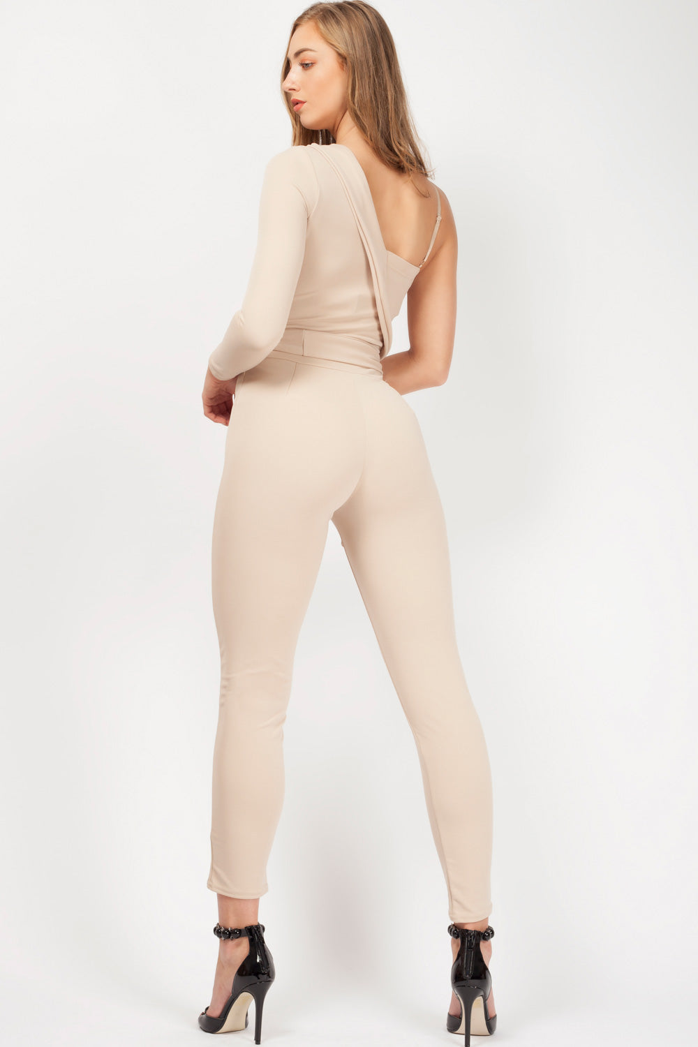 nude one shoulder jumpsuit