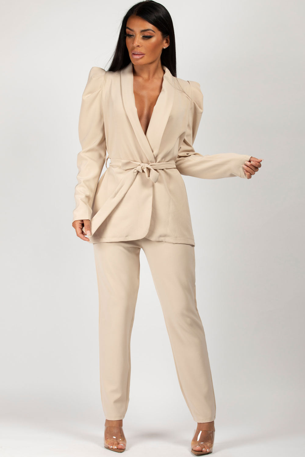 puff sleeve blazer trousers suit beige