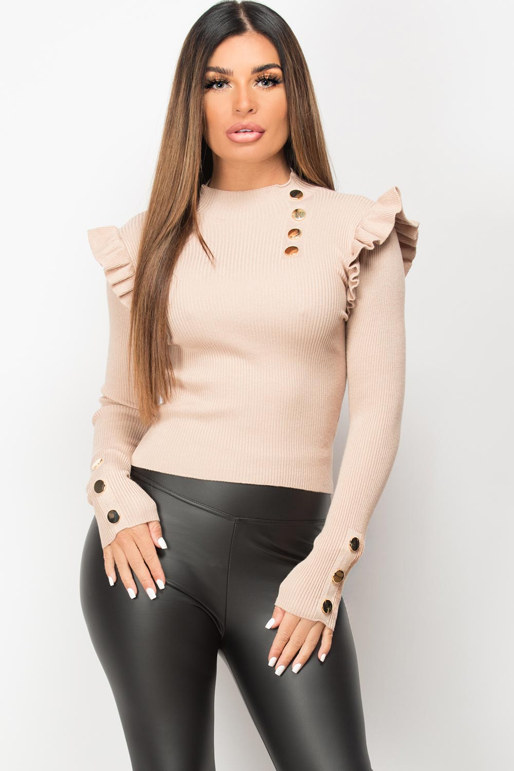 gold button ribbed jumper