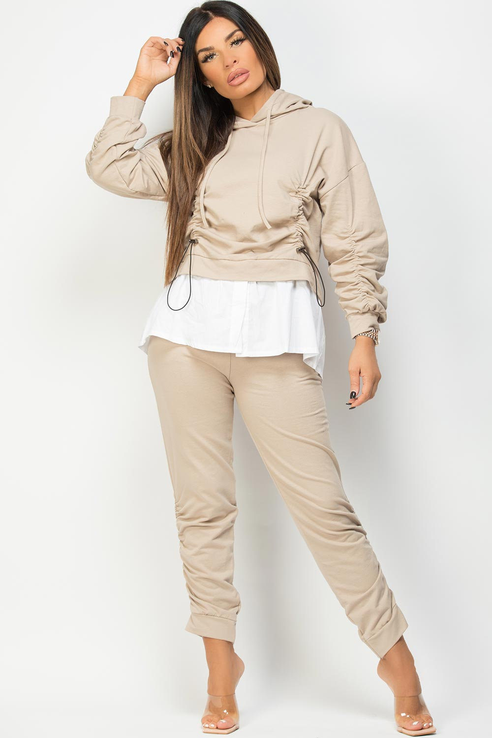 ruched hooded shirt top and trousers set