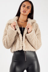 button up crop teddy coat
