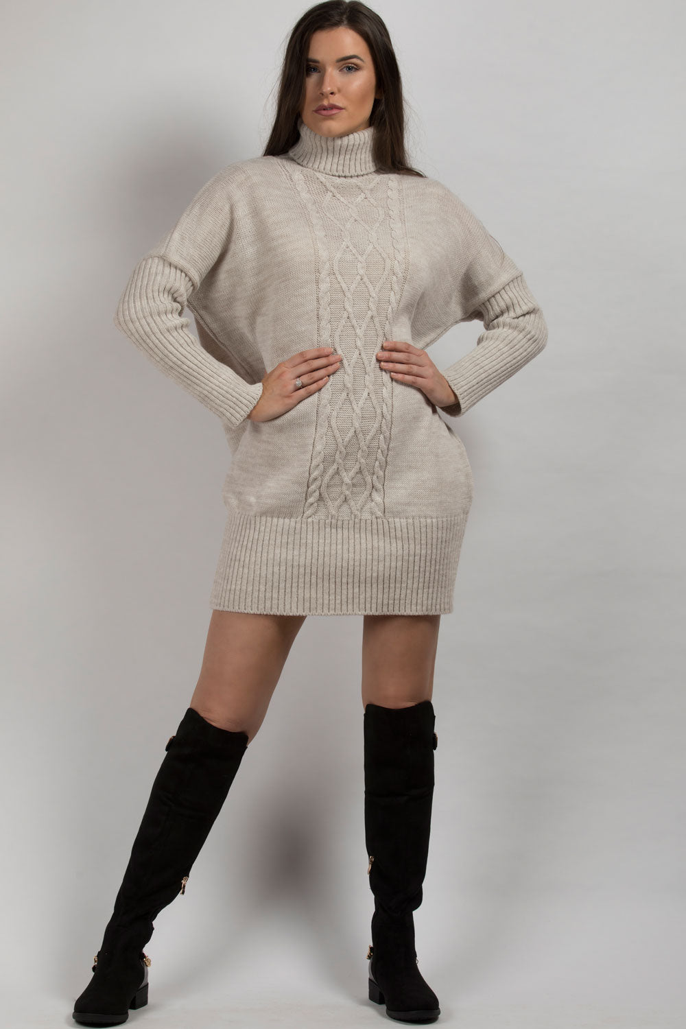 oversized turtle neck jumper dress beige