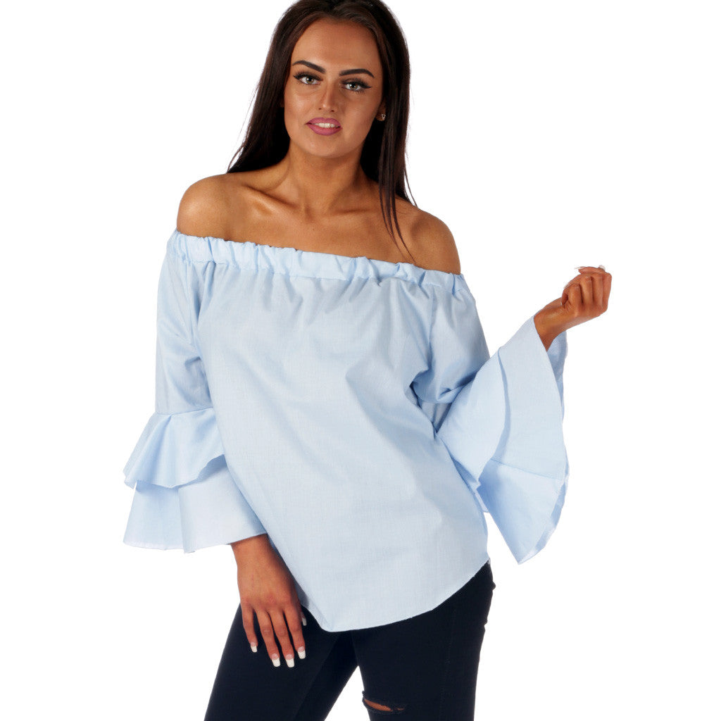 Sky Blue Bell Sleeve Off Shoulder Top styledup