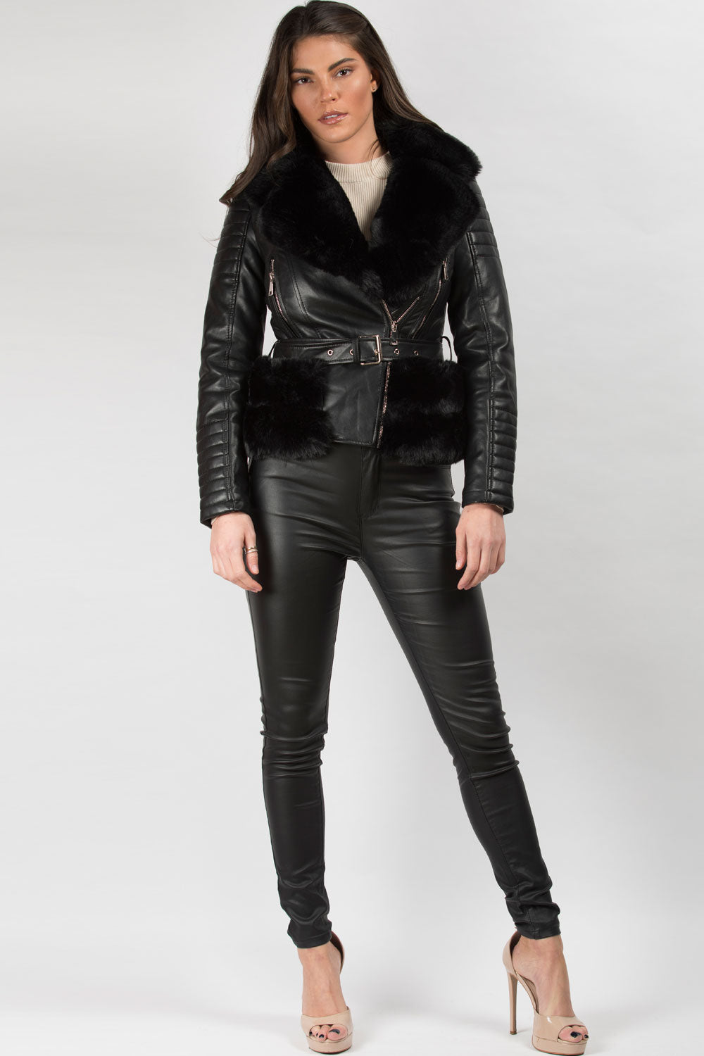 black biker belted jacket with faux fur trim on sale uk