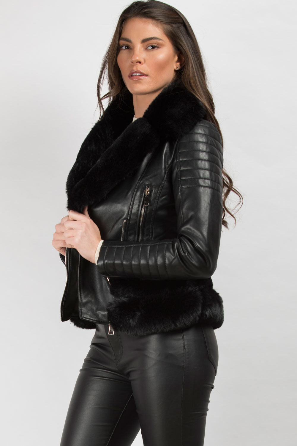 black faux leather faux fur trim biker jacket