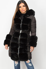 front faux fur hooded belted puffer down coat womens