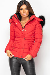 red puffer coat with faux fur hood
