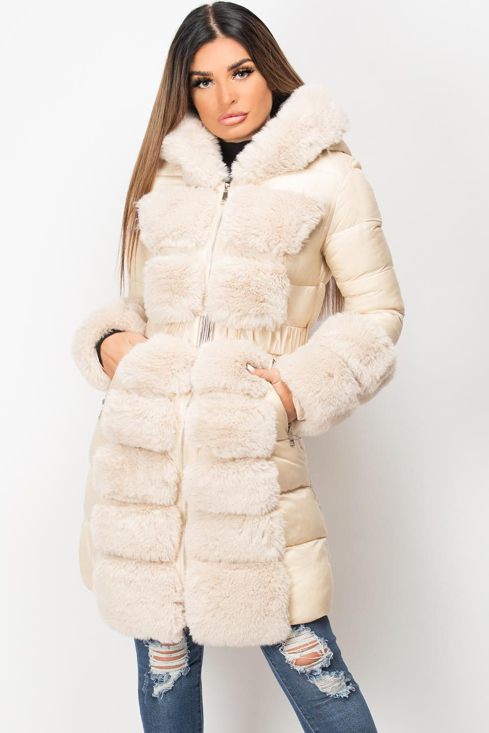 big faux fur hooded puffer jacket