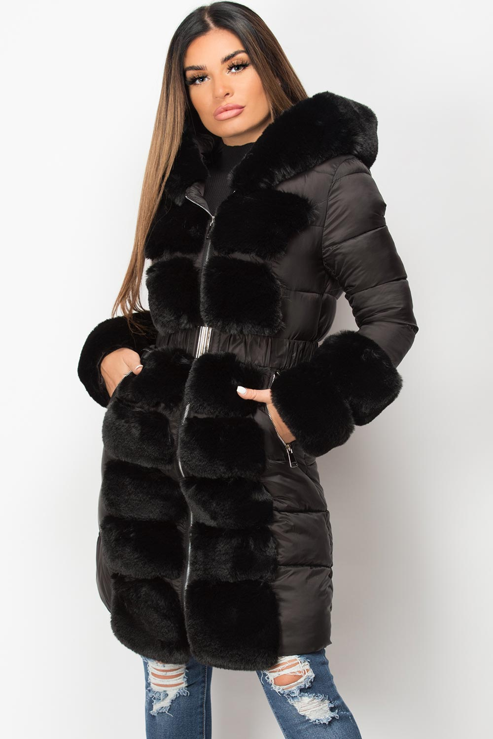 black big faux fur trim hooded puffer coat