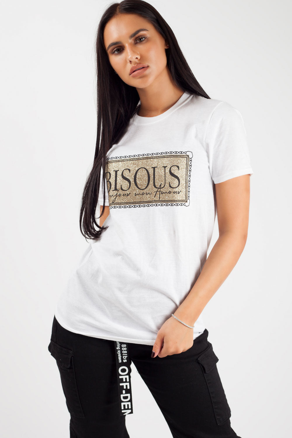 bisous slogan top white