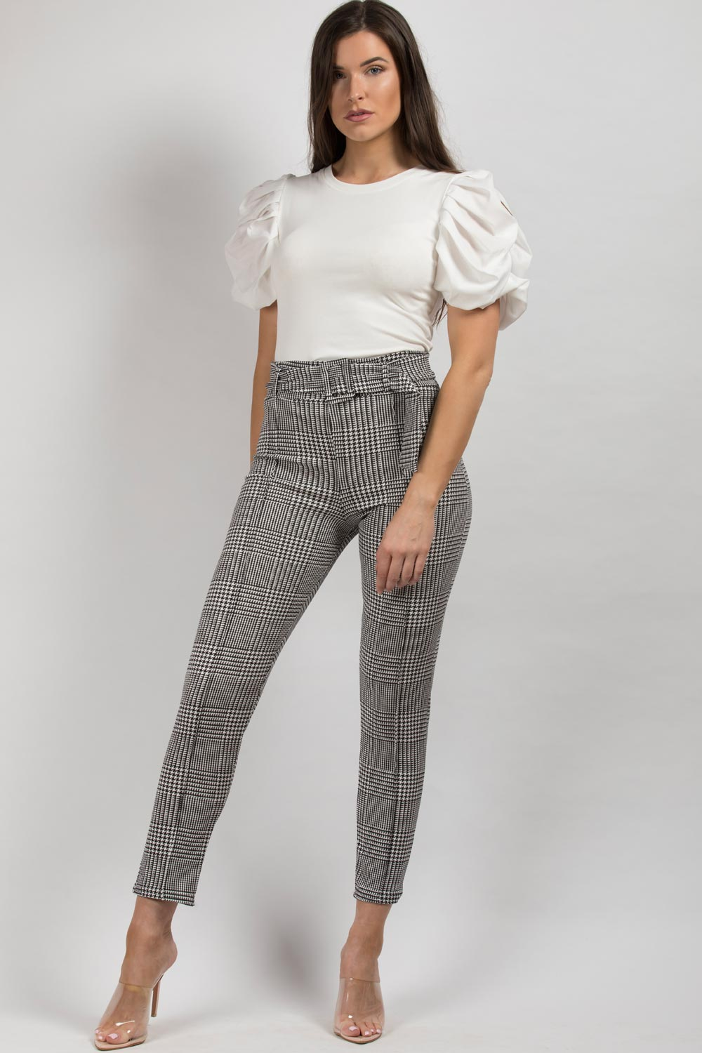 high waisted black white belted trousers womens