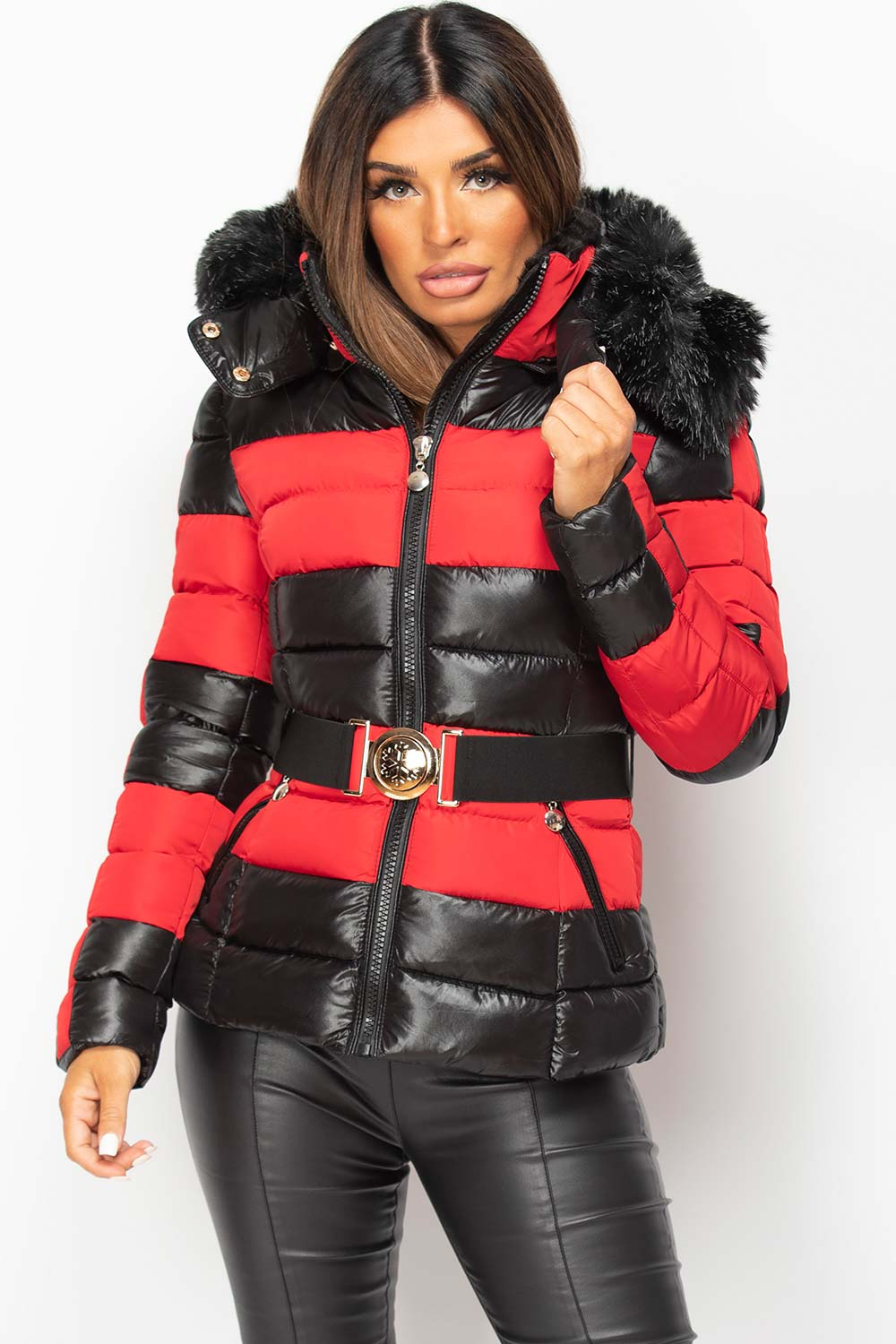 faux fur hood shiny puffer coat red and black