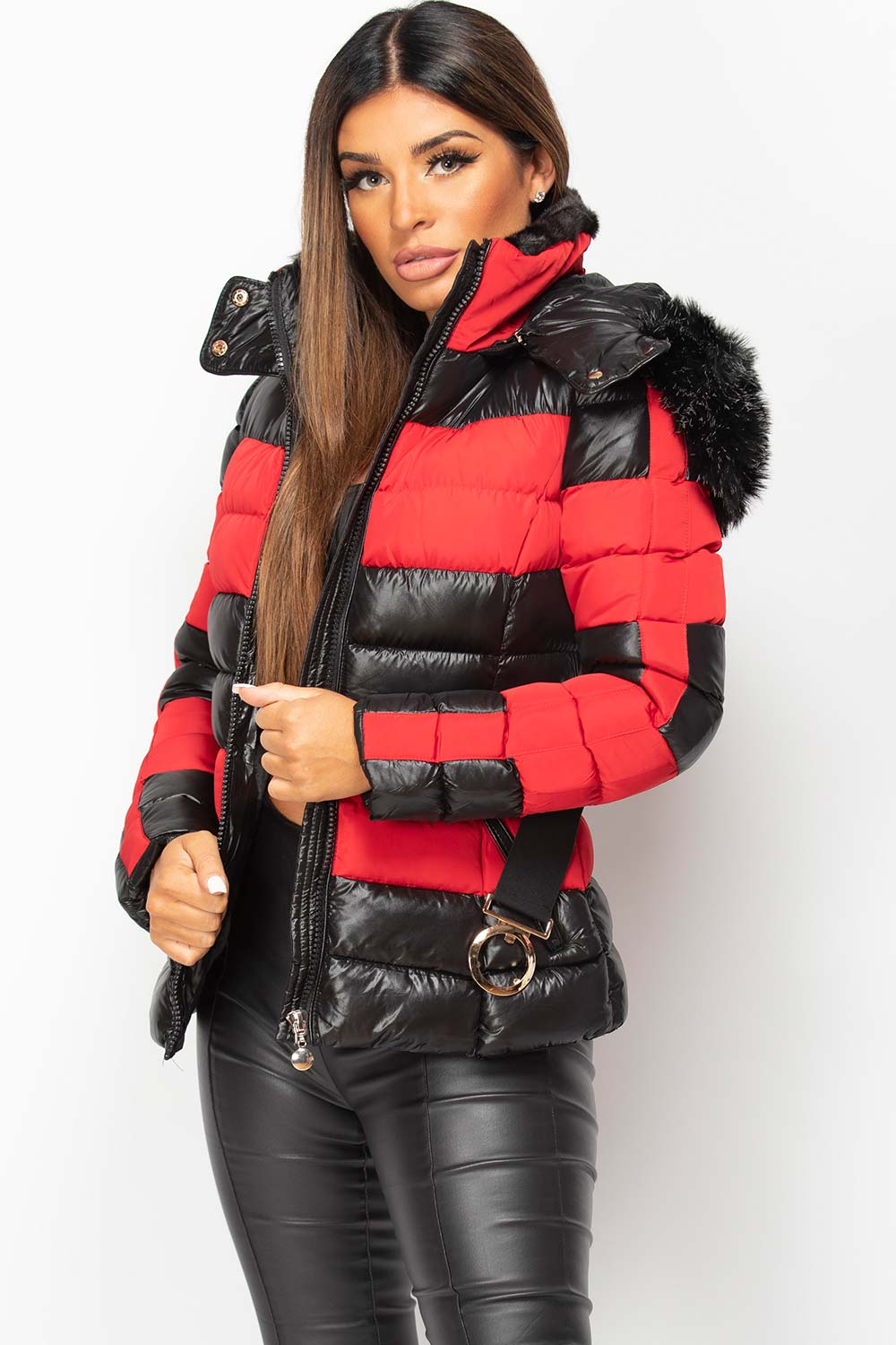 shiny puffer coat with belt