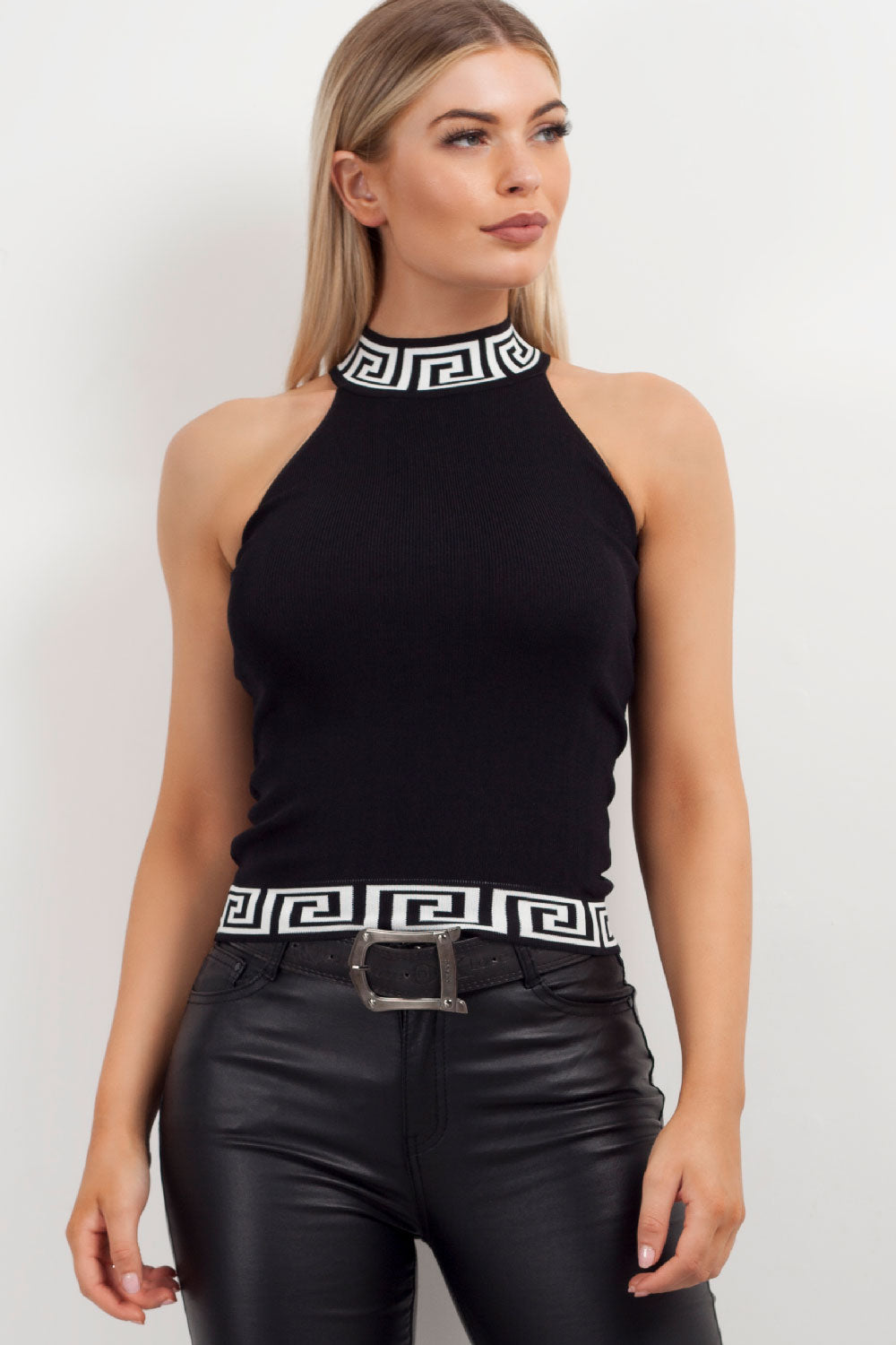 fendi inspired black ribbed vest womens