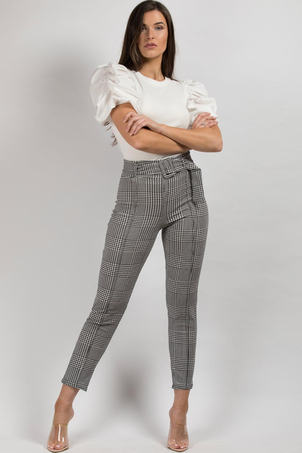 black white houndstooth trousers belted