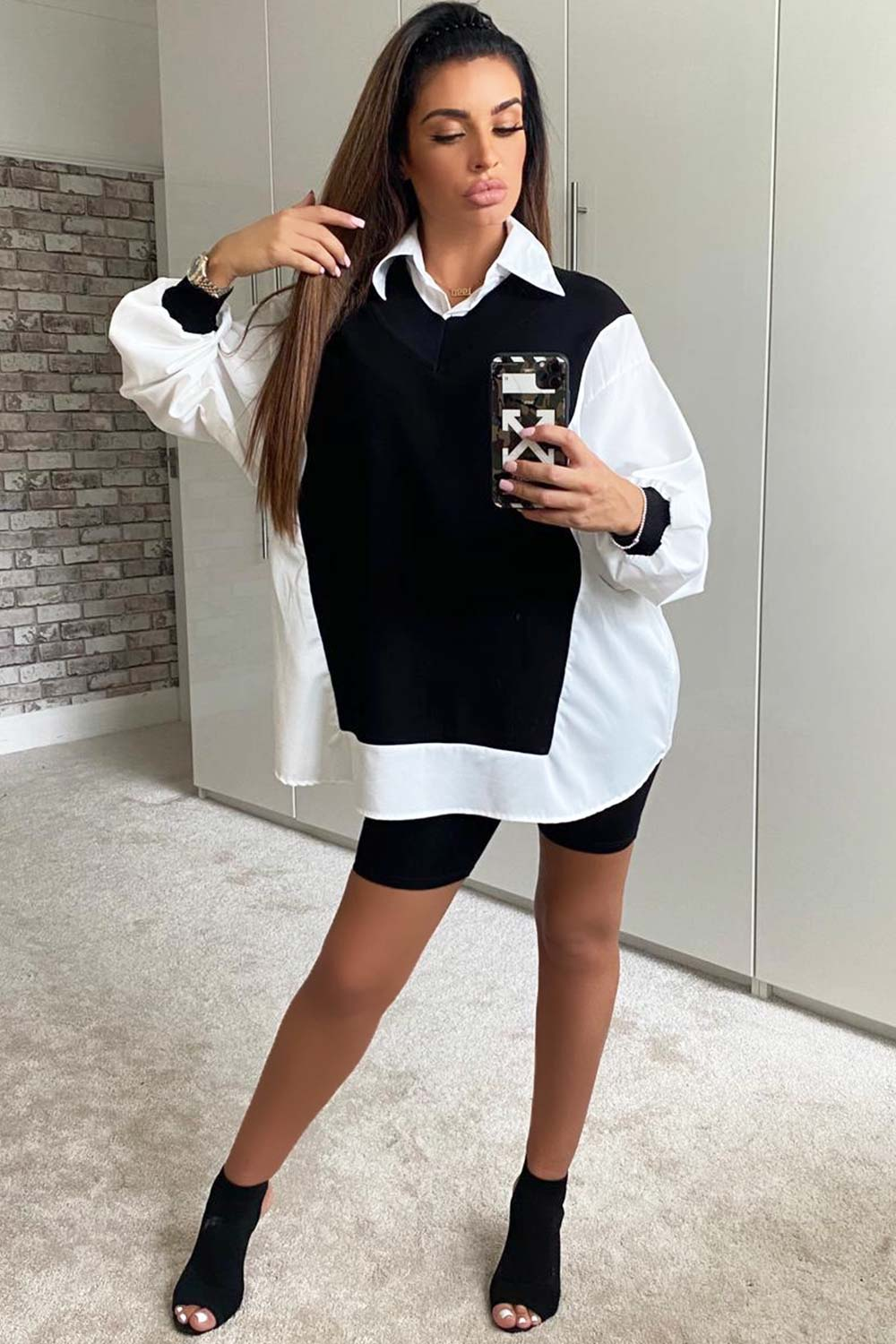 shirt jumper black and white