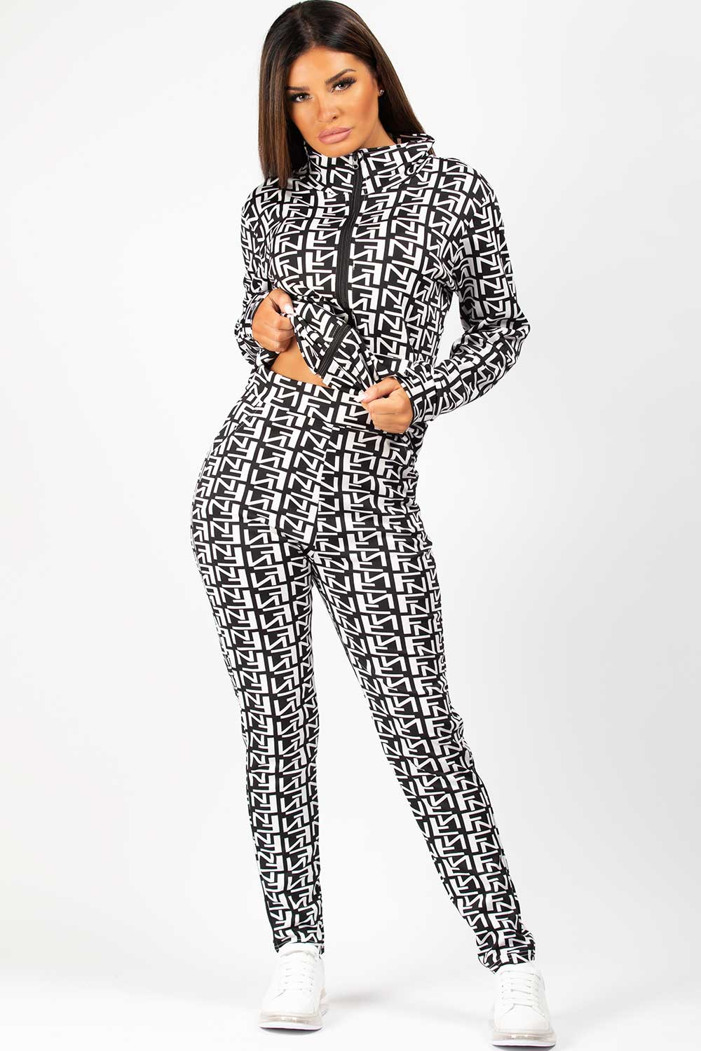 black and white fendi inspired loungewear co ord set