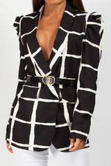 monochrome double circle belted blazer