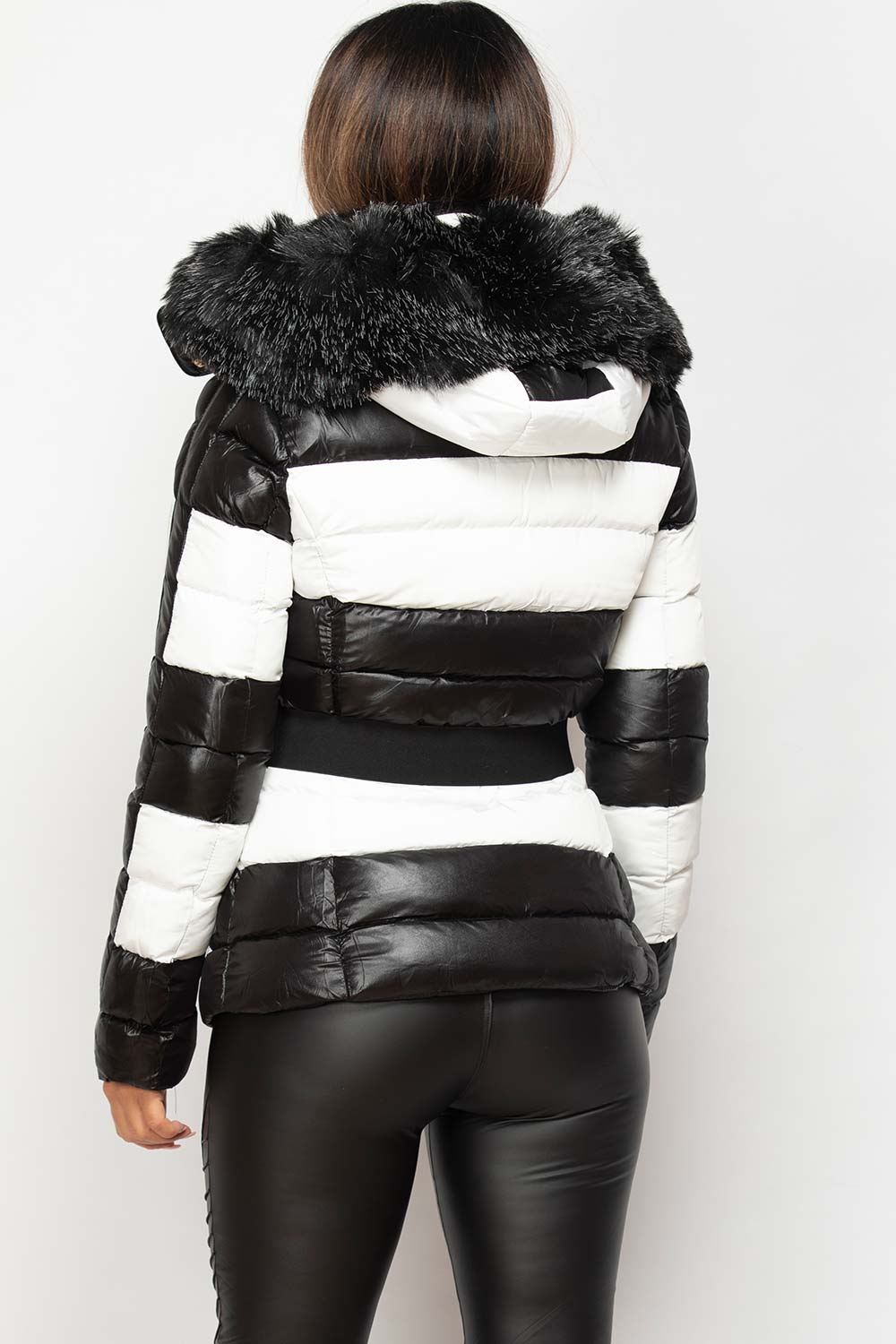 black and white puffer coat with fur hood