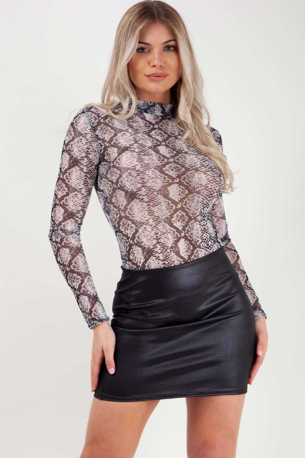 snake print long sleeve bodysuit top