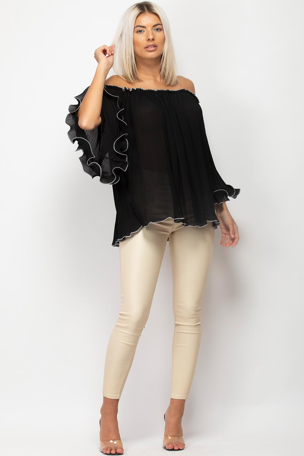balloon sleeve blouse black