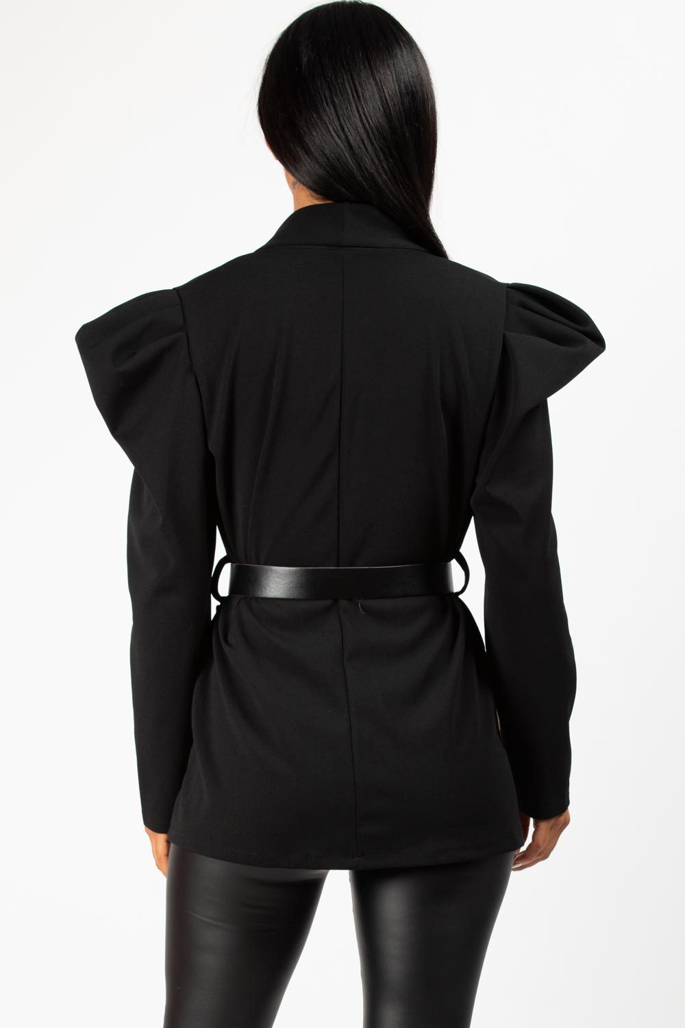 puff sleeve blazer black