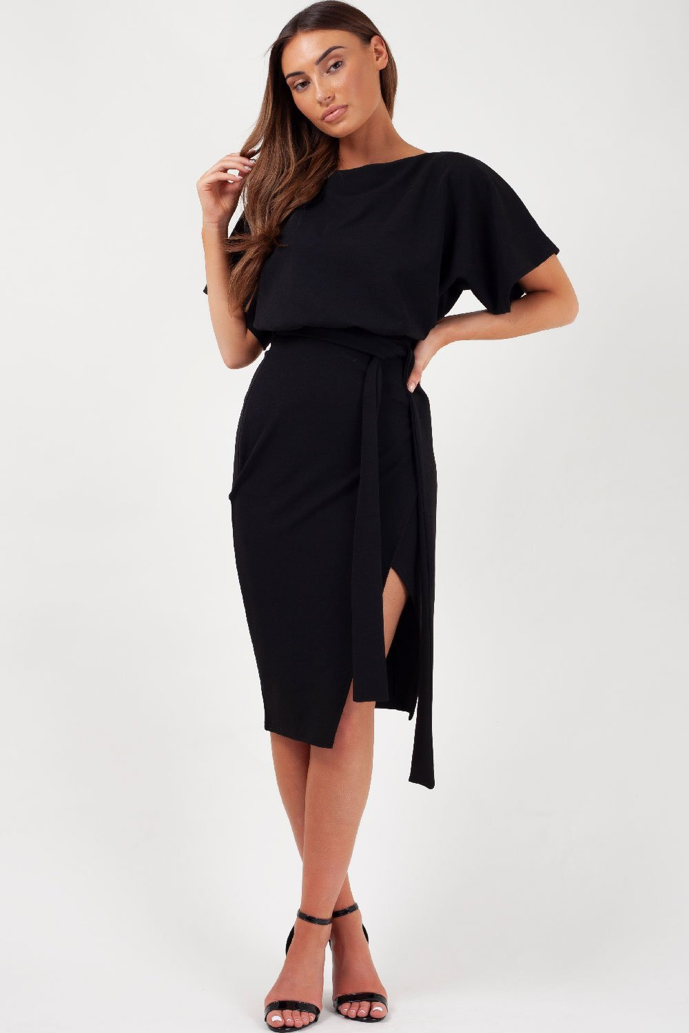 black midi wrap dress uk