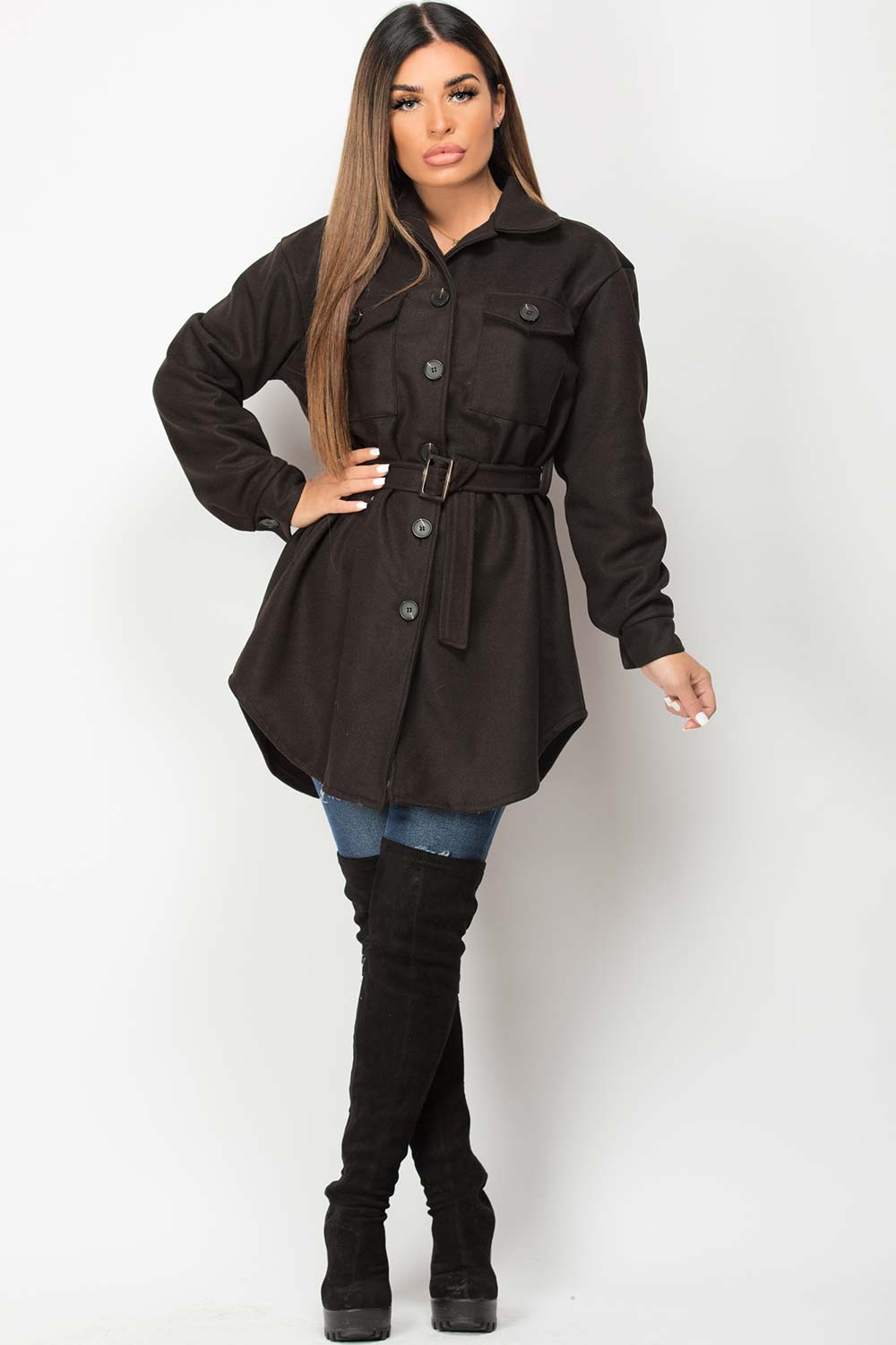 belted shacket with utility pockets womens