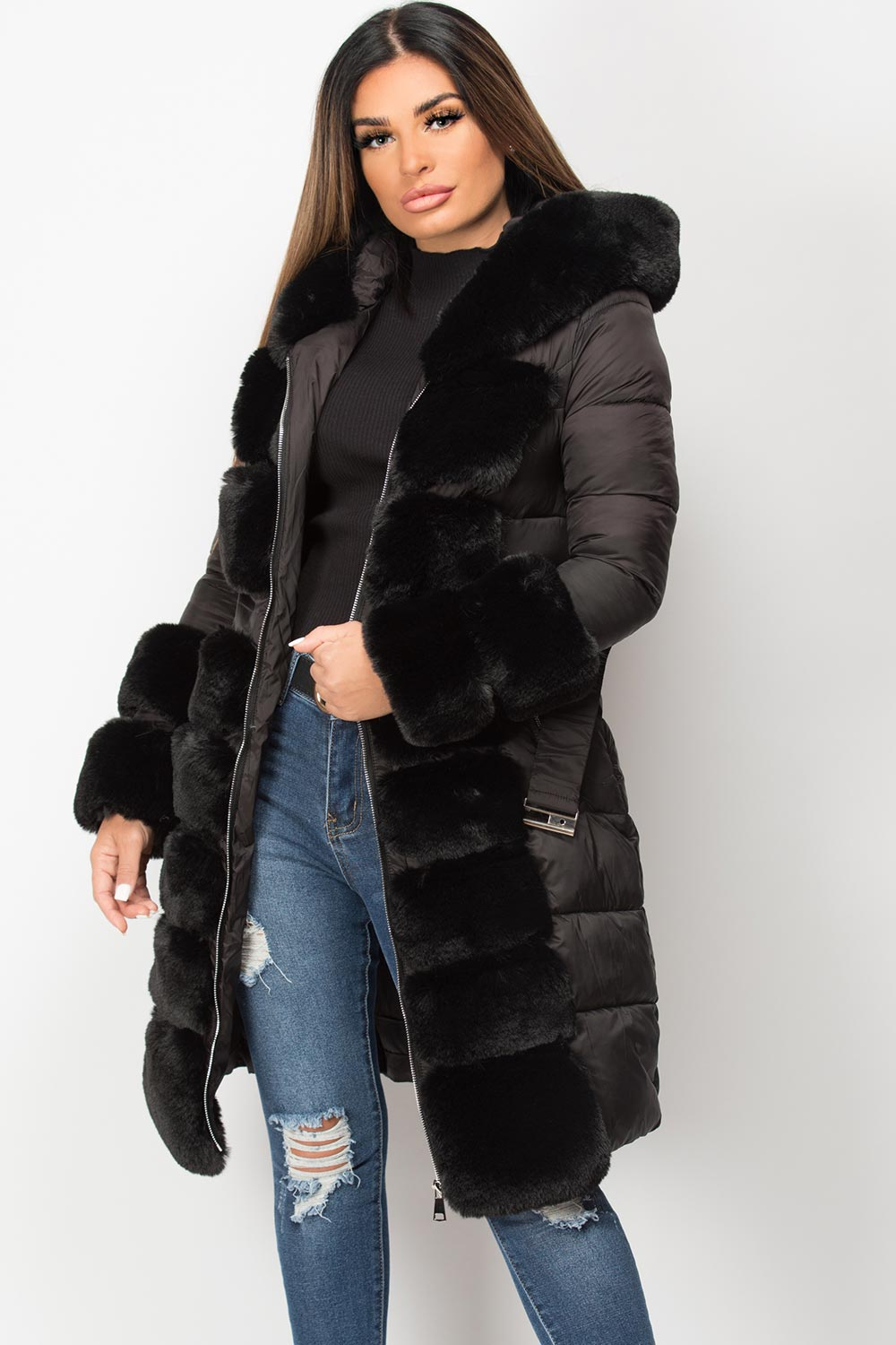 faux fur hooded belted puffer down coat