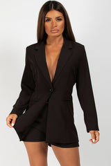 blazer and shorts set black
