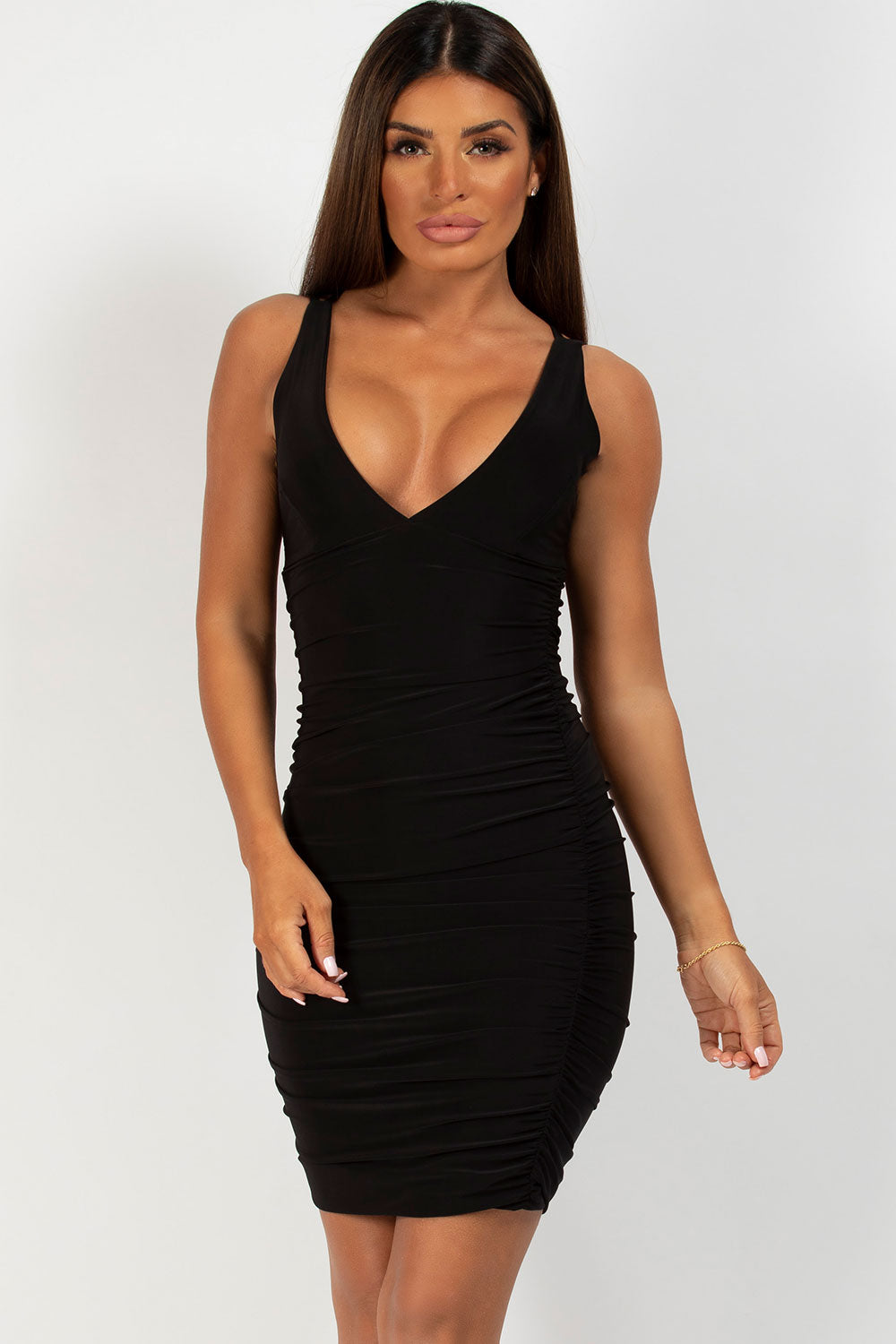 black starppy ruched bodycon dress