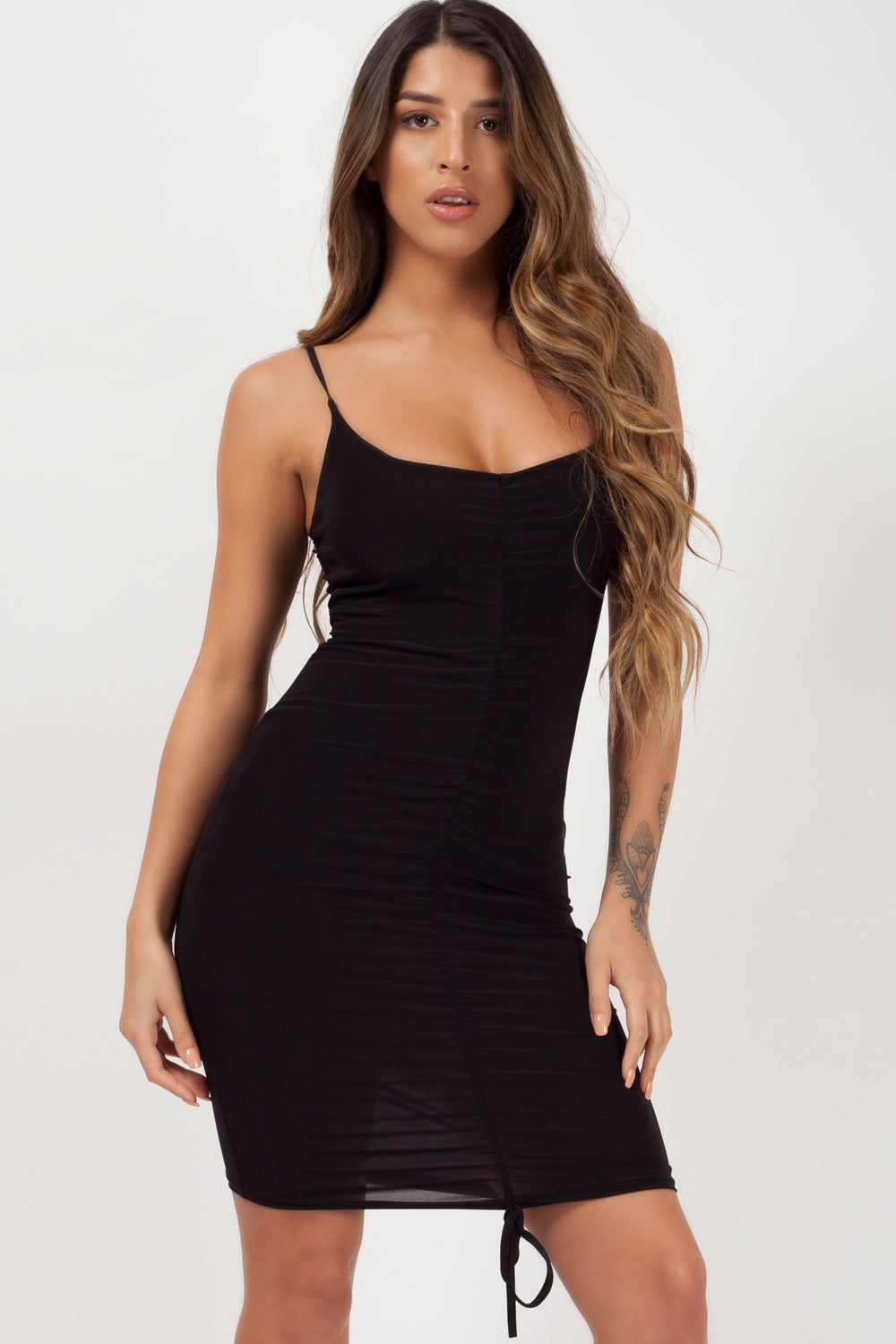 black ruched front bodycon dress styledup fashion