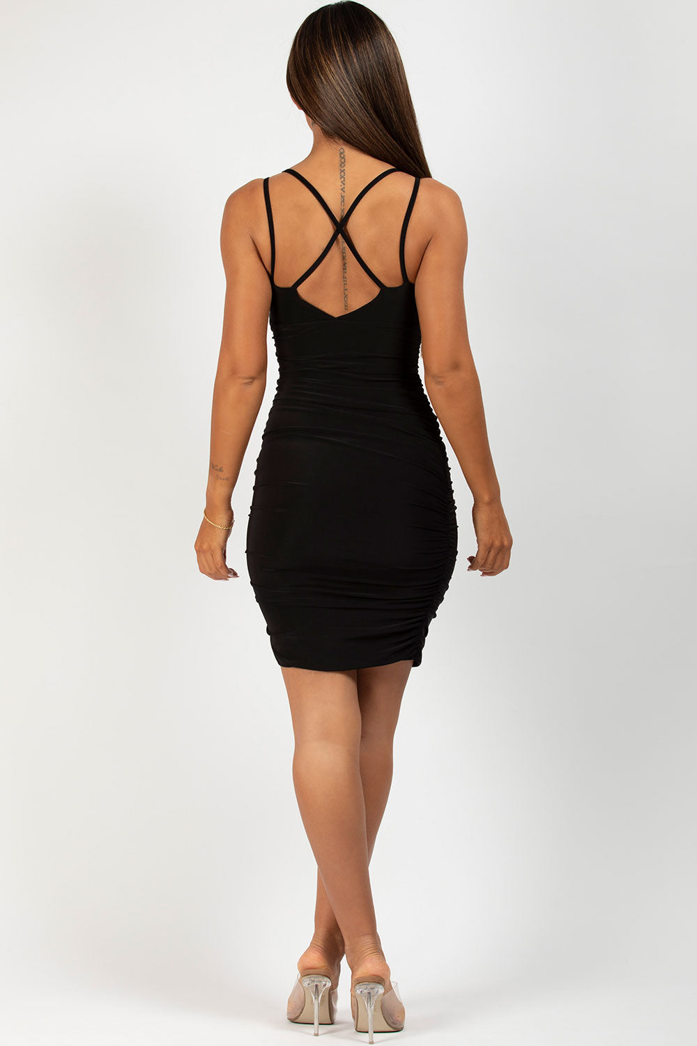 black ruched starppy dress