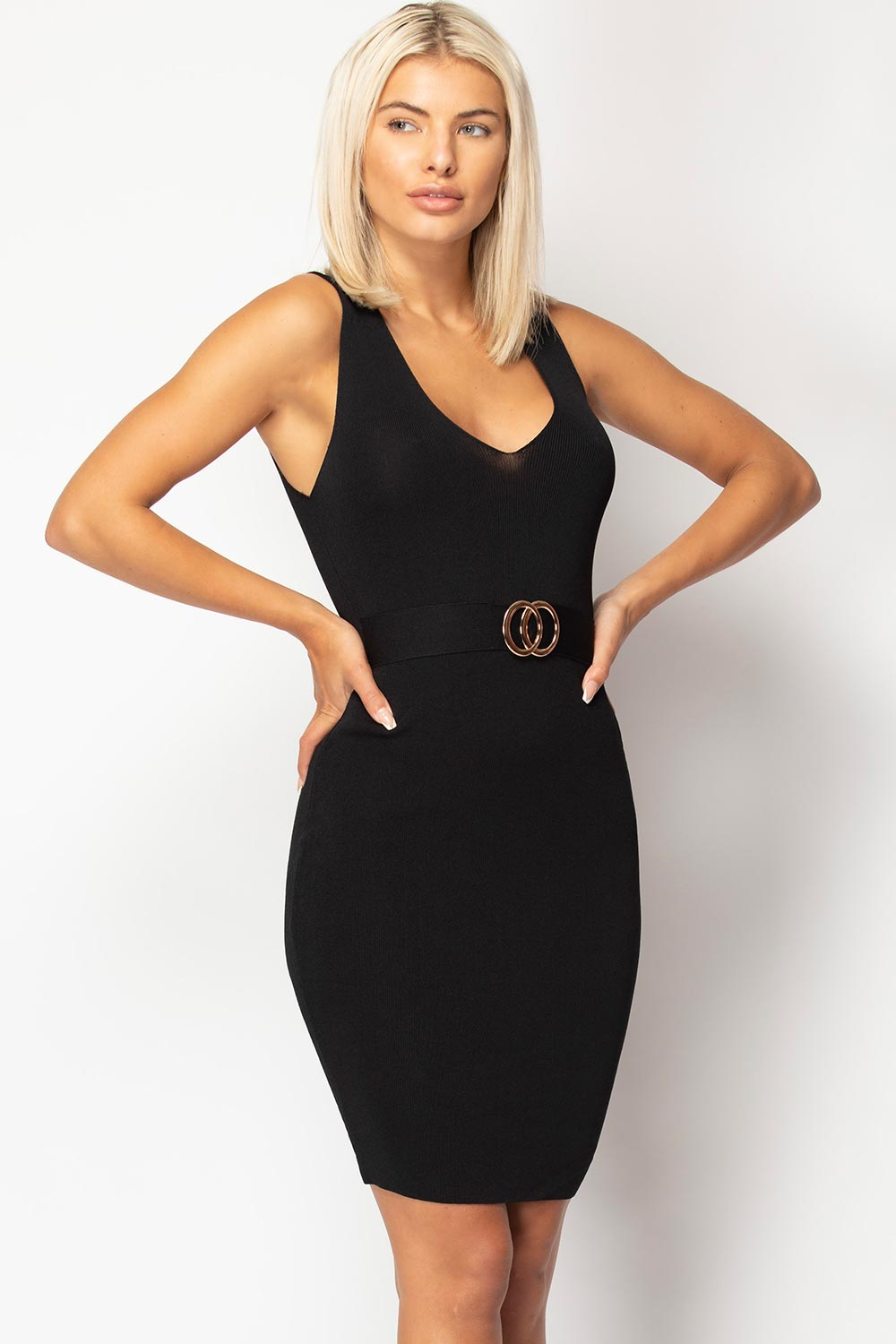 knitted bodycon dress black