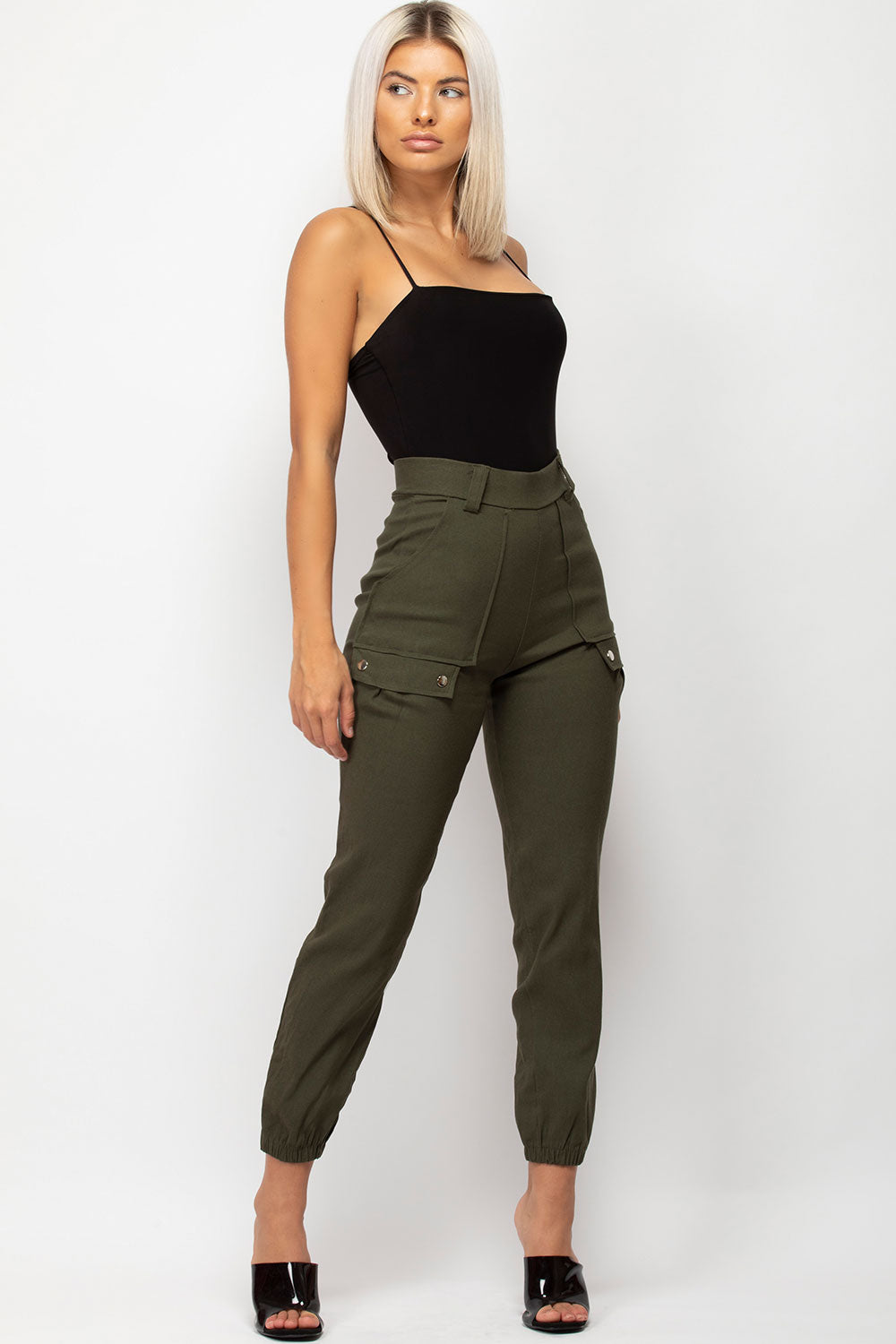 khaki cargo trousers womens