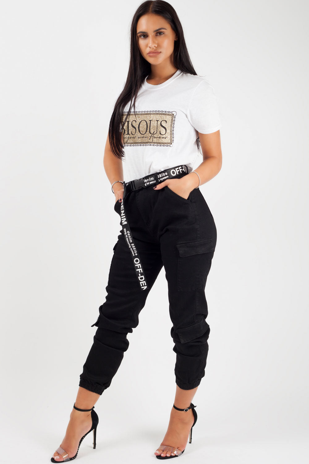 Black Cargo Trousers With Buckle Belt