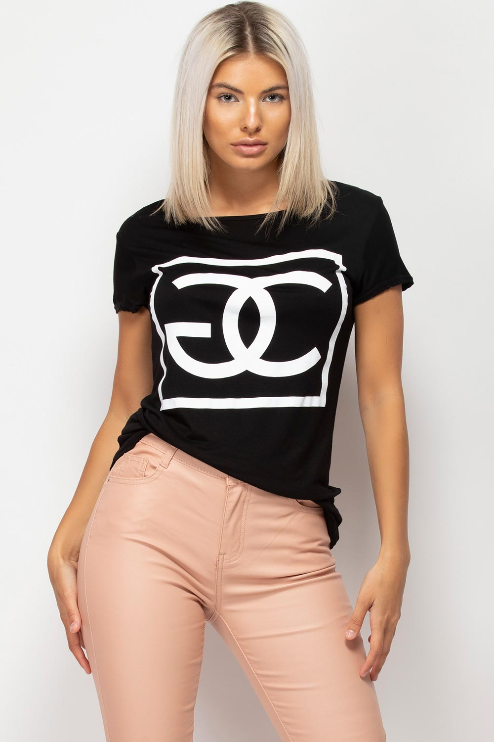 womens black t shirt with cg slogan