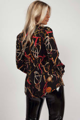 chain print shirt long sleeve womens
