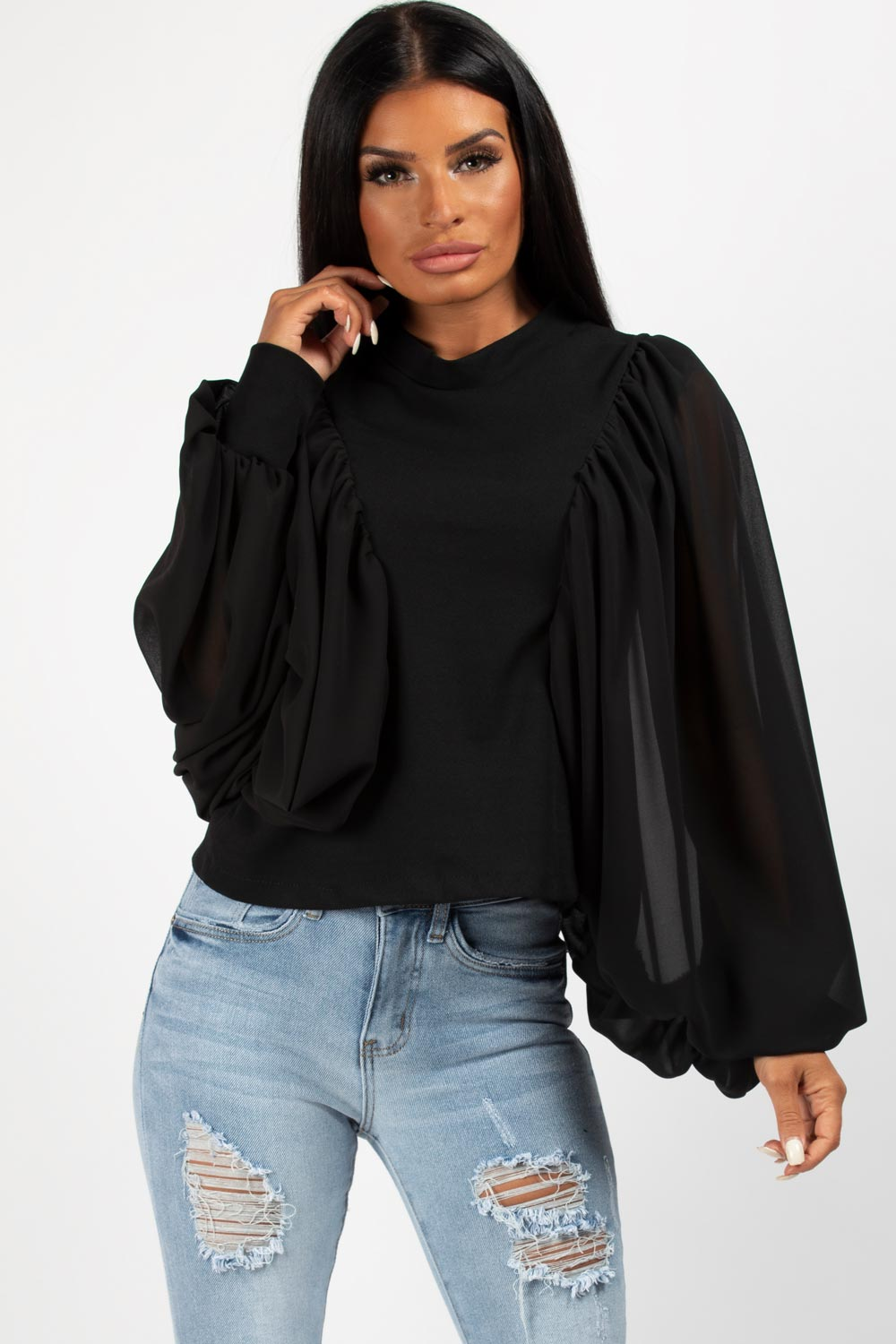 black chiffon sleeve top