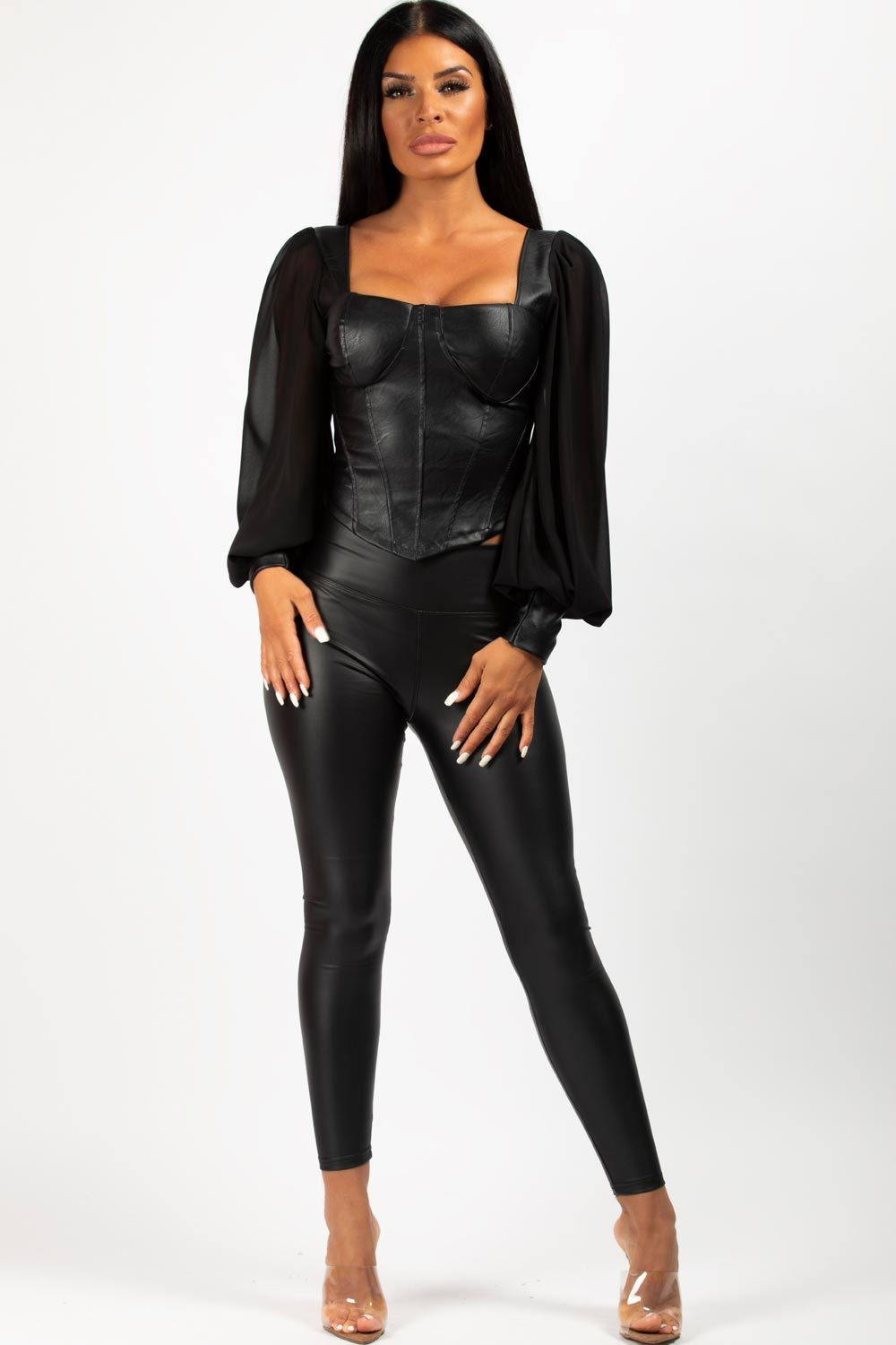 pu corset with long sleeves