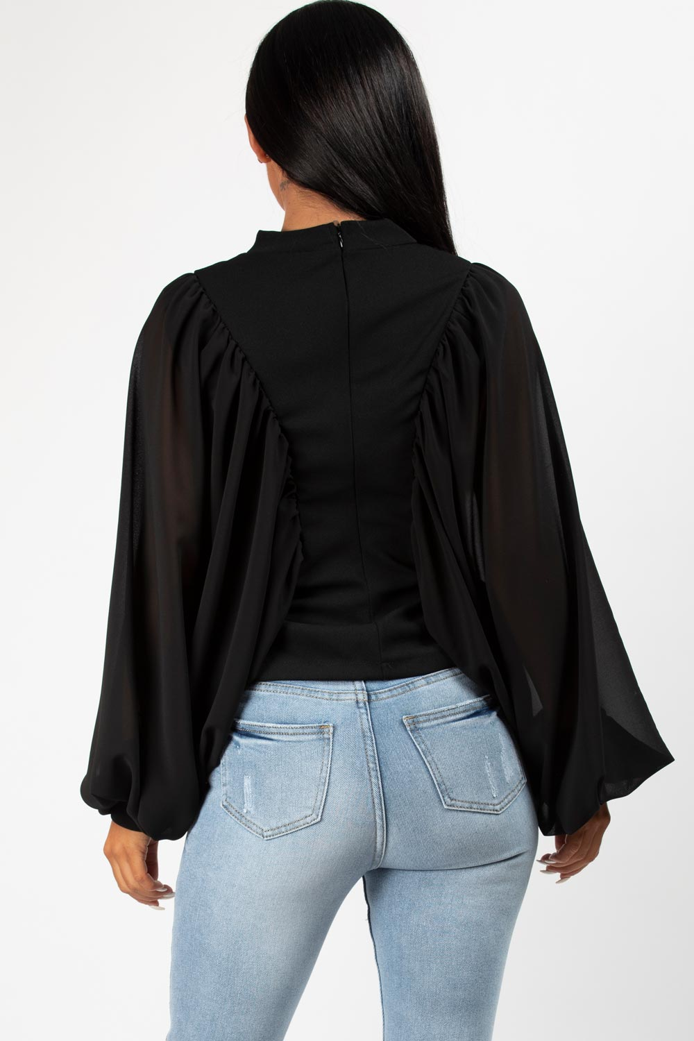 batwing chiffon sleeve top black