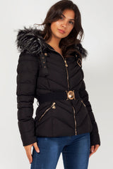 black quilted faux fur hood coat