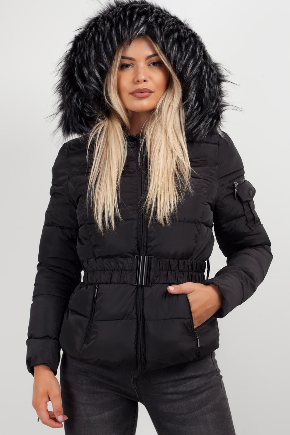 chunky faux fur hooded puffer coat black