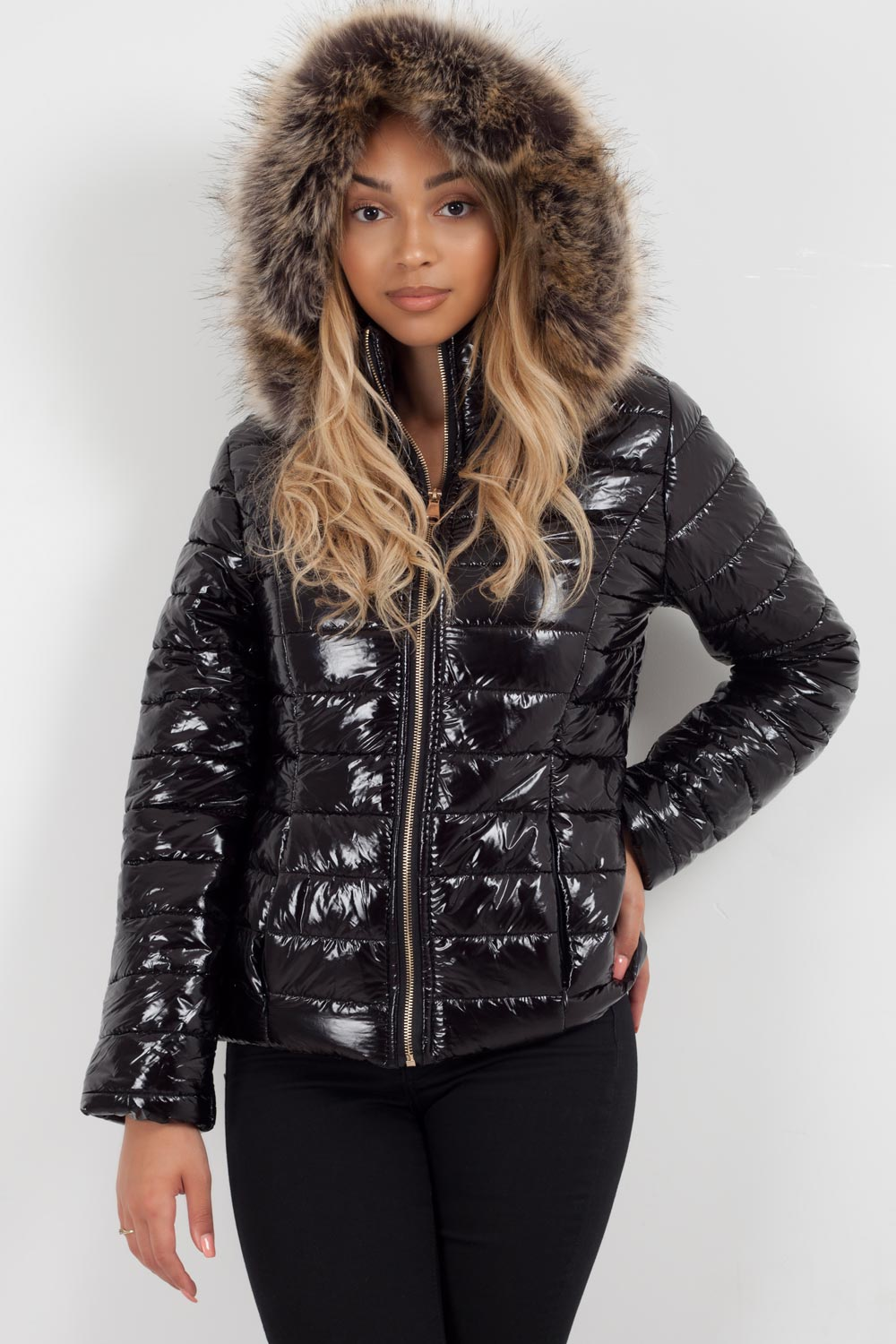 shiny puffer jacket with fur hood styledup fashion