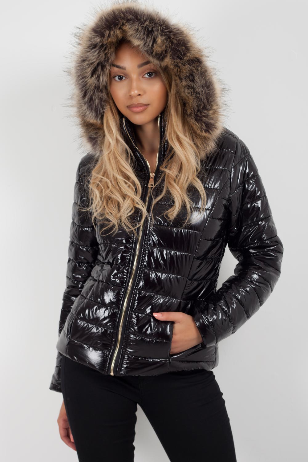 black puffer jacket women
