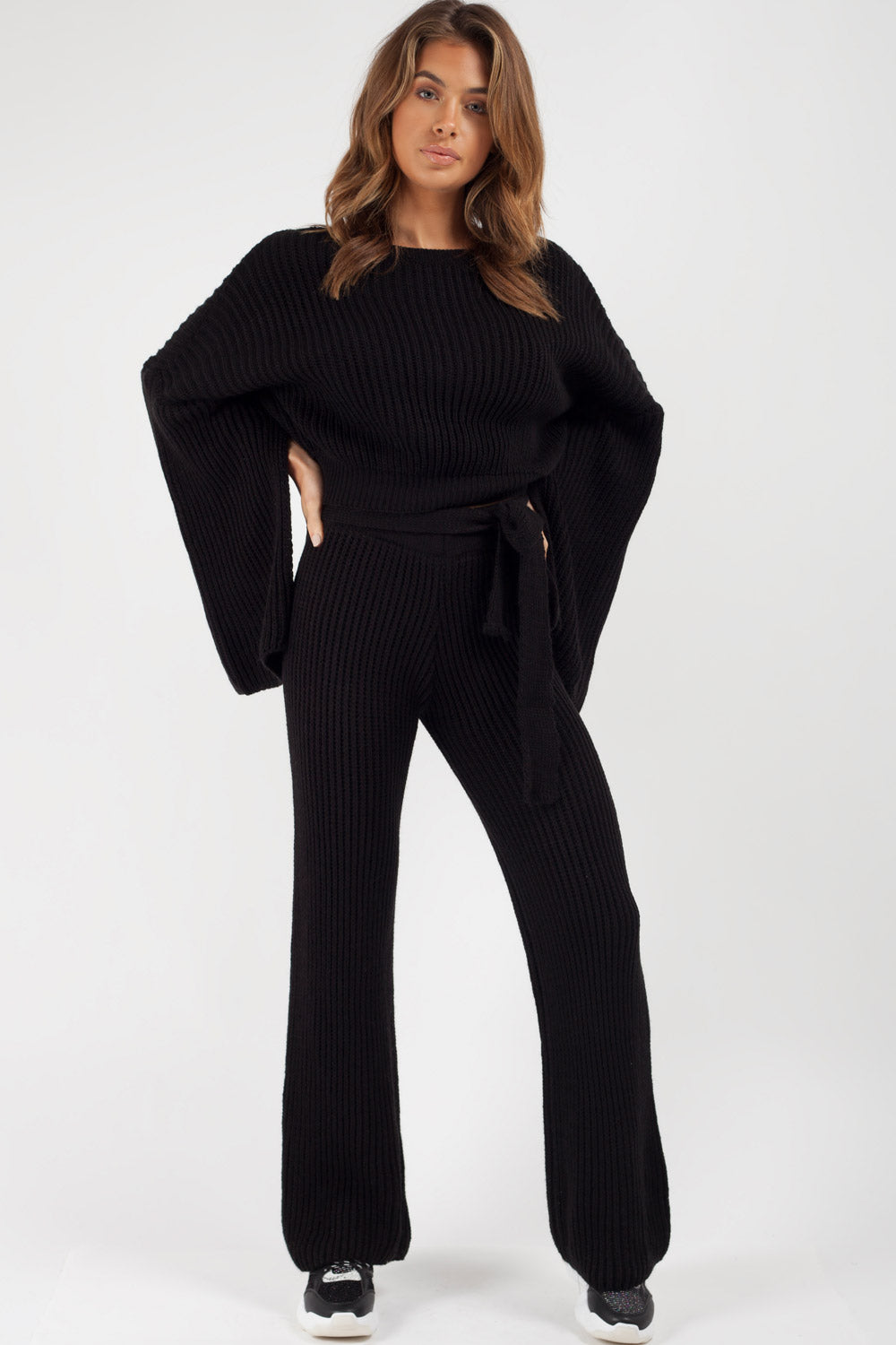 black split sleeve chunky knit loungewear