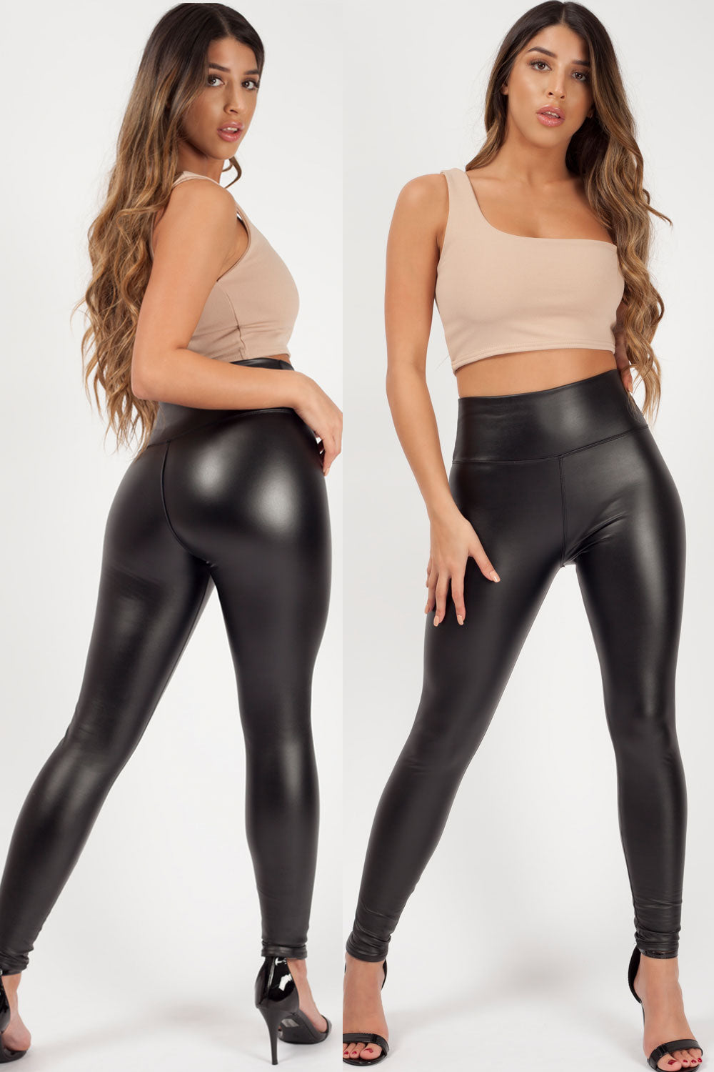 black leather look leggings styledup fashion