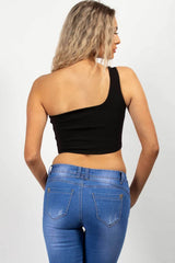 black festival one shoulder crop top