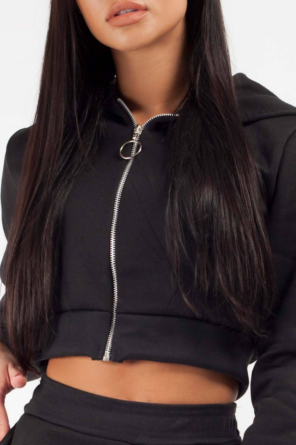 black cropped hooded zipper and joggers co ord set